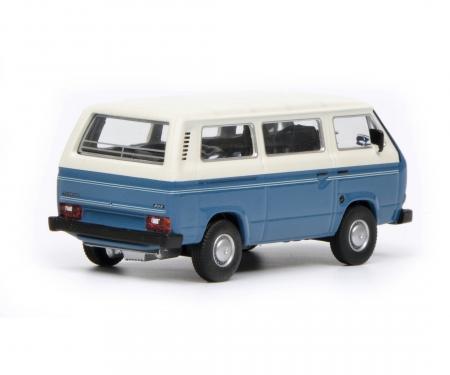 schuco VW T3 Bus, blau weiß, 1:64