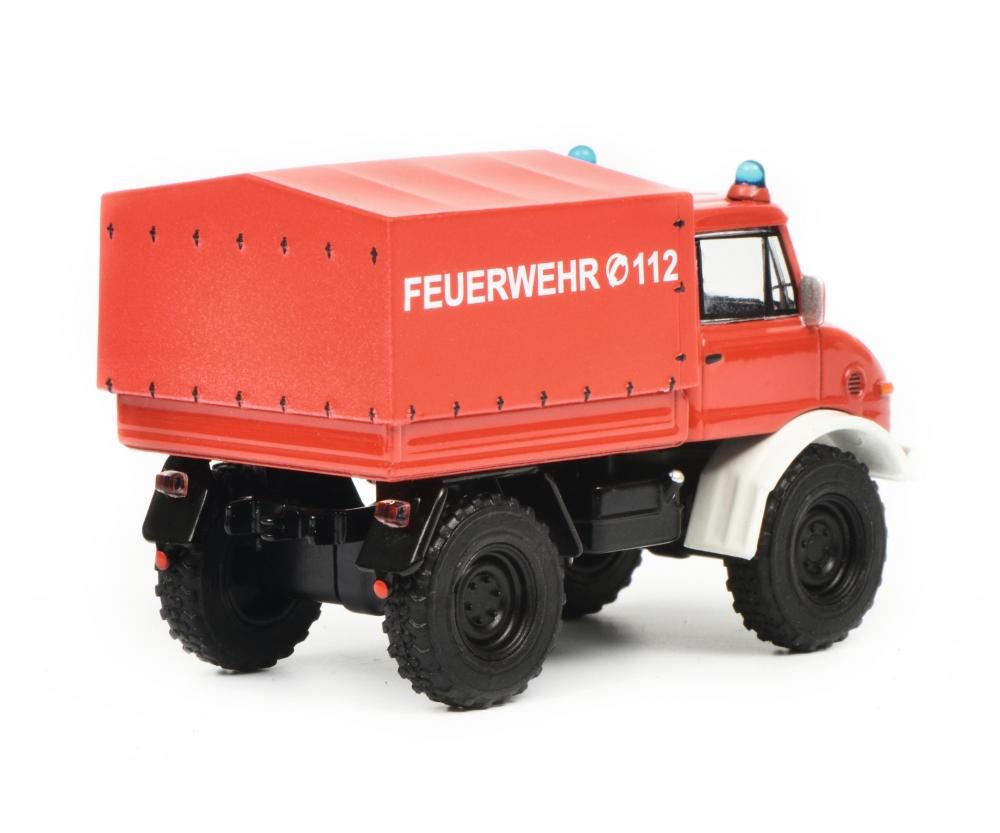 Modellfahrzeug 452017300 Rouge Modellauto mod/èle de Voiture Miniature Schuco 452017300-Mercedes Feuerwehr Mercedes Benz Unimog U406 Pompiers /à l/échelle 1:64