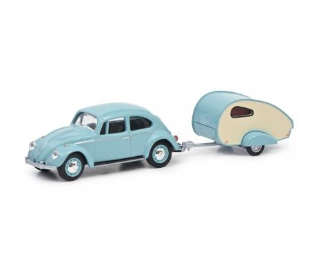 schuco VW Beetle with caravan 1:64