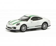 schuco Porsche 911 R (991), weiß/grün 1:87