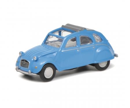 Citroën 2 CV mit geöffnetem Verdeck, blau, 1:87