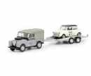 schuco Land Rover I with trailer and Mini, 1:87