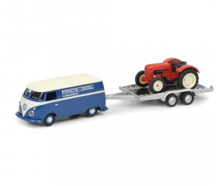 schuco VW T1c box van with trailer and Porsche Junior, 1:87