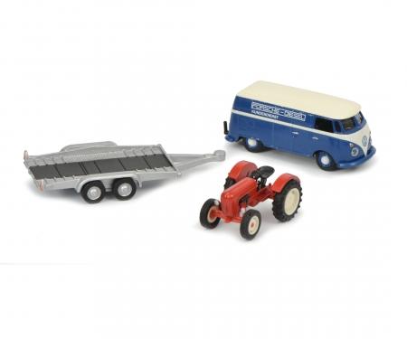 VW T1c box van with trailer and Porsche Junior, 1:87