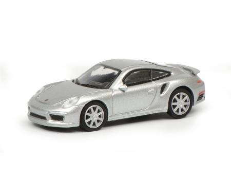 schuco Porsche 911 Turbo S (991), silver, 1:87