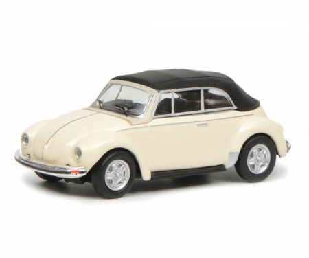 schuco VW Beetle Cabrio with roof, white, 1:87