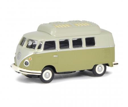 schuco VW T1c camping bus, green grey, 1:87