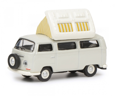 schuco VW T2a Camping Bus mit geöffnetem Dach, grau weiß, 1:87