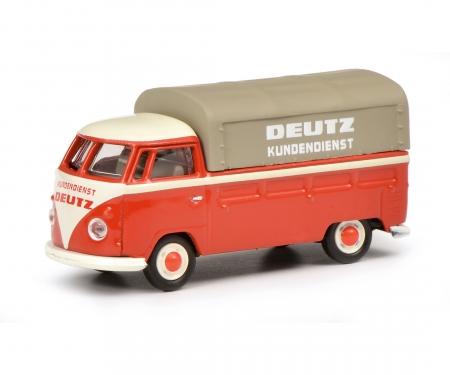 """schuco VW T1b Pritsche-Plane """"Deutz Service"""", rot, 1:87"""