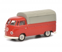 schuco VW T1b pick-up with tarpaulin, red, 1:87