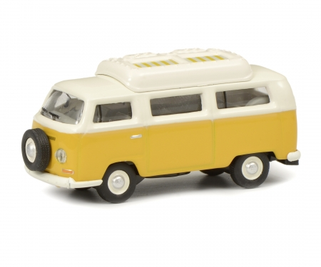 schuco VW T2a camping bus with closed roof, yellow white, 1:87