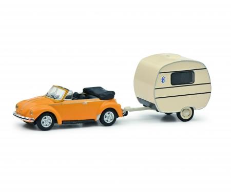 schuco VW Beetle w. caravan 1:87