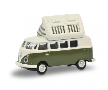 schuco VW T1c Campingbus green/white 1:87