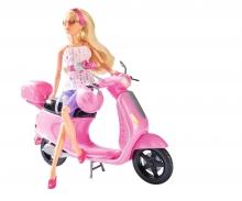 simba Steffi Love su Scooter con bauletto e casco