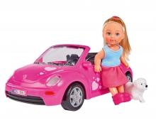 simba Evi con auto Beetle e cucciolo
