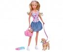 simba Steffi Love Puppy Walk con cucciolo in borsetta