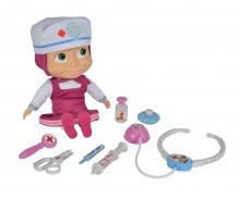 simba Masha Bambola Dottoressa cm.30, con accessori, avvicinando lo stetoscopio alla bambola si sente il respiro