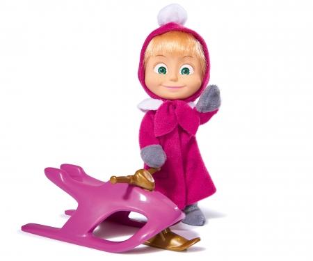 simba Muñeca Masha 12cm con vestido invernal y trineo