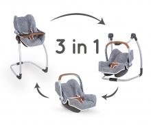 smoby 3v1 Autosedačka a židlička MC&Q pro panenky šedá