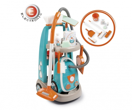 smoby CLEANING TROLLEY + VACUUM CLEANER