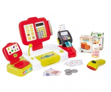 Pokladna elektronická s váhou červená