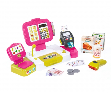 smoby Pokladna elektronická s váhou růžová