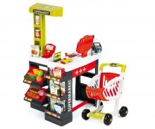 Supermarkt mit Einkaufswagen rot/grün