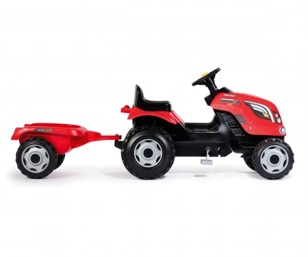 smoby RED FARMER XL TRACTOR + TRAILER