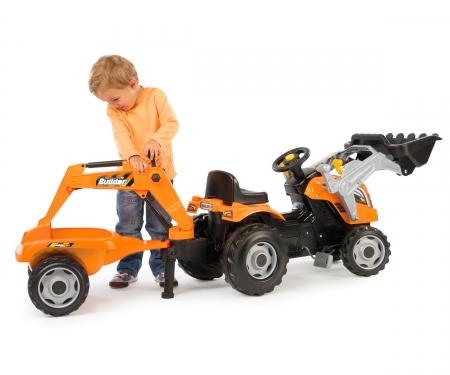 Šlapací traktor Builder Max s bagrem a vozíkem oranžový