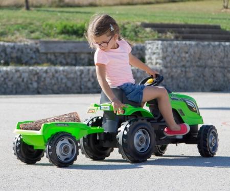 smoby Šlapací traktor Farmer XL zelený s vozíkem