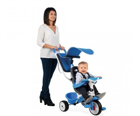 smoby Tříkolka Baby Balade 2 modrá, stříška, taška