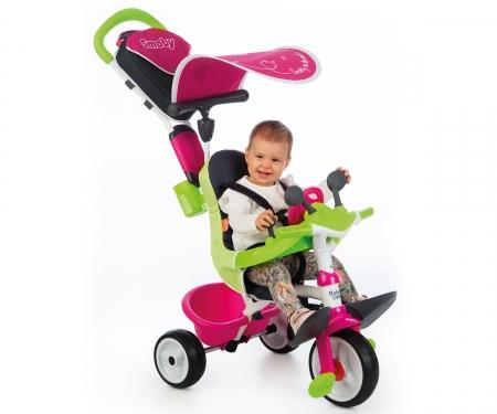 smoby Tříkolka Baby Driver Confort růžovozelená, stříška