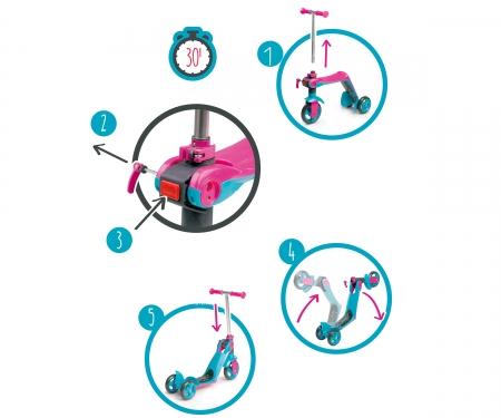 smoby Koloběžka 2v1 růžová, 3 kolečka