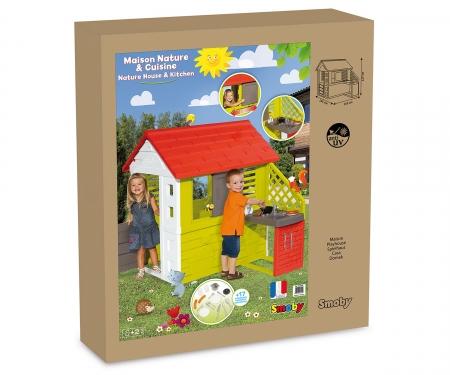 smoby Smoby Spielhaus Natur Haus mit Sommerküche