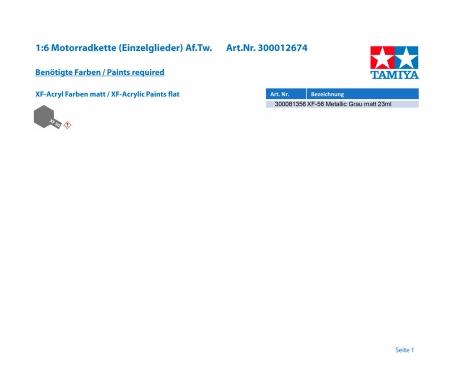 tamiya 1:6 Motorradkette (Einzelglieder) Af.Tw.
