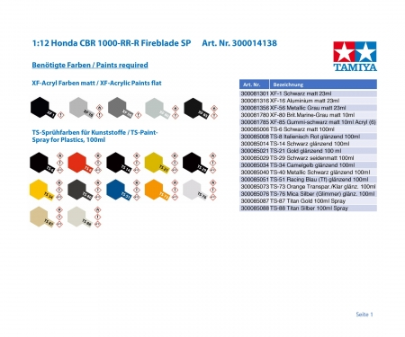 tamiya 1/12 CBR1000RR-R FIREBLADE SP