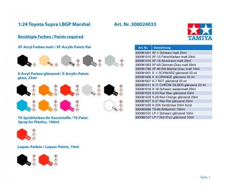 tamiya 1:24 Toyota Supra LBGP Marshal
