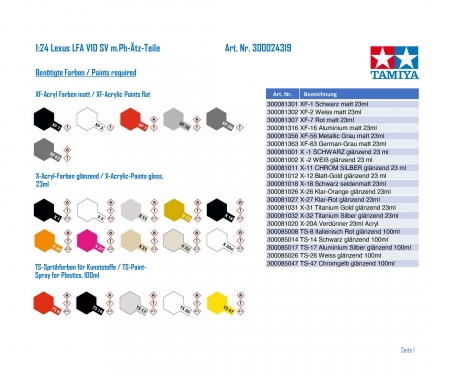 tamiya 1:24 Lexux LFA V10 Roadver. w/PE-Parts