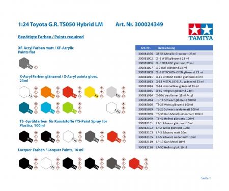 tamiya 1:24 Toyota G.R. TS050 HYBRID