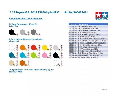 tamiya 1/24 TS050 HYBRID 2019