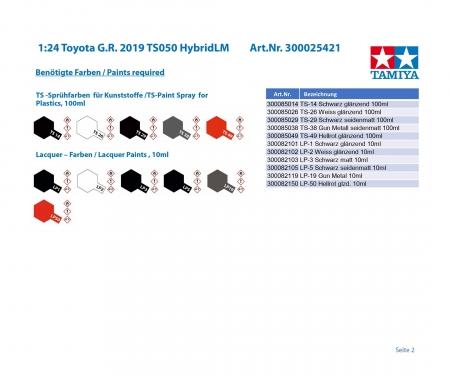 tamiya 1:24 Toyota G.R. 2019 TS050 Hybrid