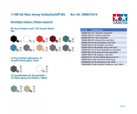 tamiya 1:700 US New Jersey Schlachschiff WL