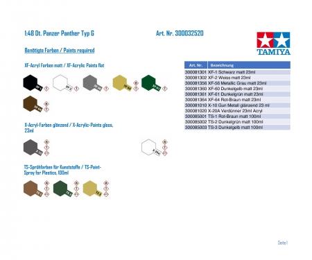 tamiya 1:48 Ger. Battle Tank Panther Type G