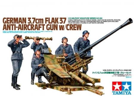 tamiya 1:35 WWII Ger. A-Acr. Gun37 w/Crew (5)