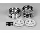 tamiya 2pc.Wheels 5-Spoke Chrome/white (2) 26 m