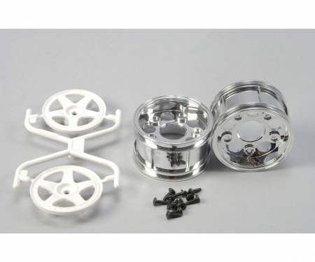 tamiya 1:10 Wheels (2) 5-Spoke Chr./white 30mm
