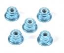 tamiya 4mm Alum. Flanged Lock Nut Blue Anod.(5)