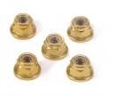 tamiya 4mm Alum. Flanged Lock Nut Gold Anod.(5)