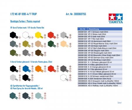 tamiya 1:72 ME-BF 109E-4/7 TRUP