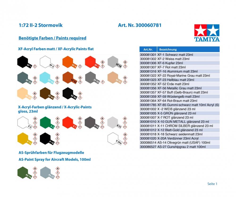 TAMIYA 300060781-1:72 II-2 Stormovik